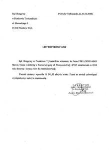 Referencje Sąd Okręgowy wPiotrkowie Trybunalskim